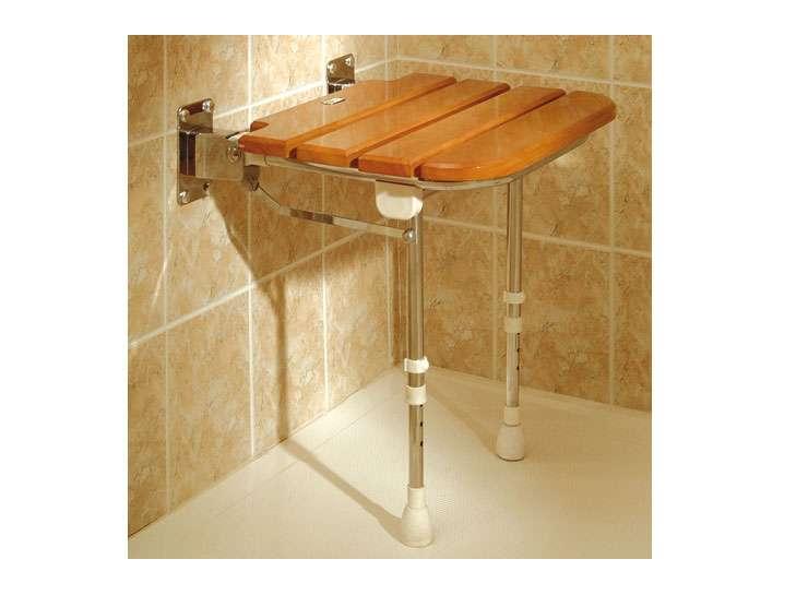Asiento de ducha abatible de madera for Ducha madera